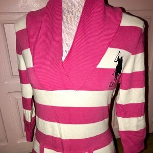 Pink and white polo shirt